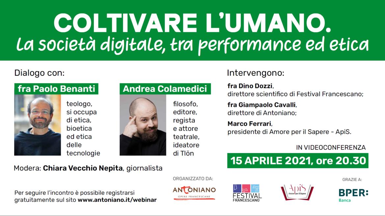 """Bioetica: Antoniano, il 15 aprile incontro """"on line"""" su come """"coltivare l'umano"""" nella società digitale"""